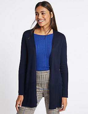 Open Front Ribbed Cardigan , NAVY, catlanding