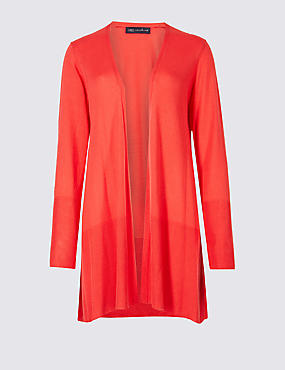 Open Front Ribbed Cardigan , FLAME, catlanding