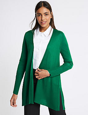 Open Front Ribbed Cardigan , EMERALD, catlanding