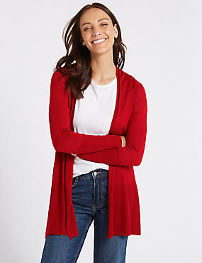 Open Front Ribbed Cardigan , CHILLI, catlanding