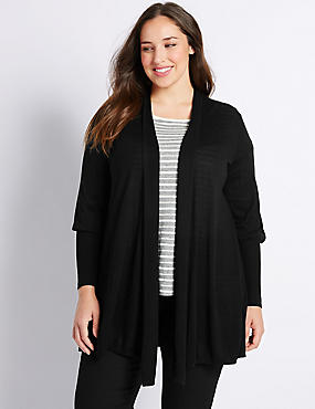 PLUS Ribbed Cuff Trapeze Cardigan
