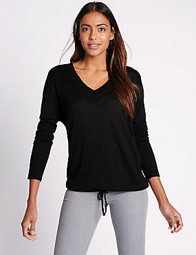 Lace Shoulder V-Neck Long Sleeve Jumper