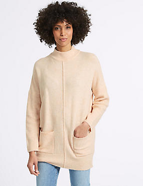 Ribbed Turtle Neck Tunic Jumper