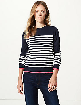 Cashmilon™ Striped Round Neck Jumper , NAVY MIX, catlanding