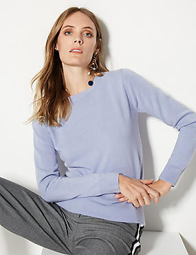 Cashmilon™ Round Neck Long Sleeve Jumper, CORNFLOWER, catlanding