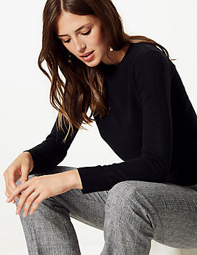 Cashmilon™ Round Neck Long Sleeve Jumper, NAVY, catlanding