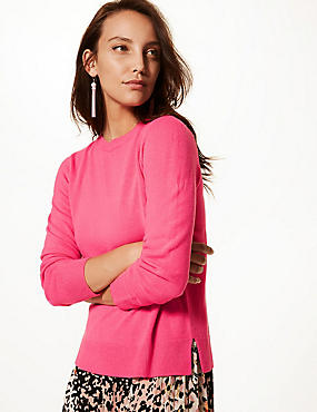 Cashmilon™ Round Neck Long Sleeve Jumper, VERY PINK, catlanding