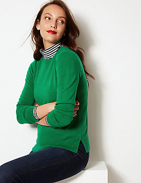 Round Neck Long Sleeve Jumper, EMERALD, catlanding
