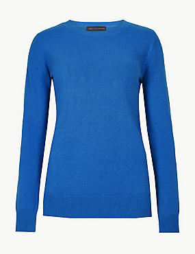 Cashmilon™ Round Neck Long Sleeve Jumper, AZURE BLUE, catlanding