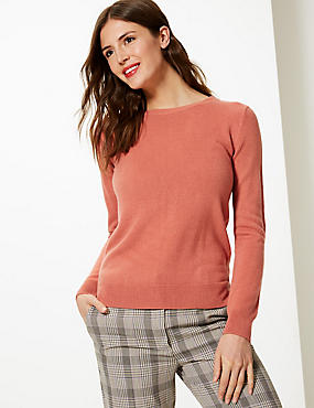 Cashmilon™ Round Neck Long Sleeve Jumper, TERRACOTTA, catlanding