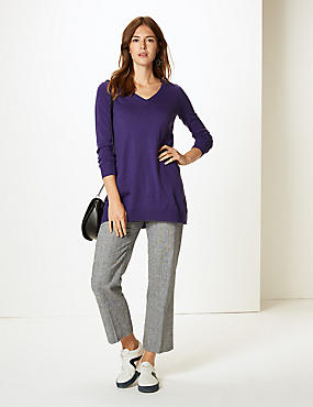 Textured V-Neck Tunic Jumper  , PURPLE, catlanding