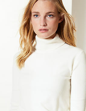 Cashmilon™ Roll Neck Jumper, CREAM, catlanding