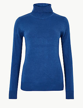 Cashmilon™ Roll Neck Jumper, AZURE BLUE, catlanding