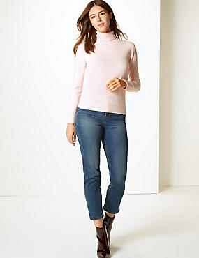 Cashmilon™ Roll Neck Jumper, PALE PINK, catlanding
