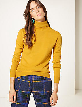 Cashmilon™ Roll Neck Jumper, OCHRE, catlanding
