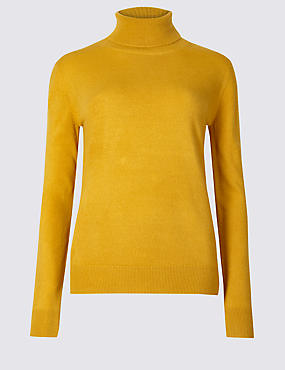 Roll Neck Jumper, OCHRE, catlanding