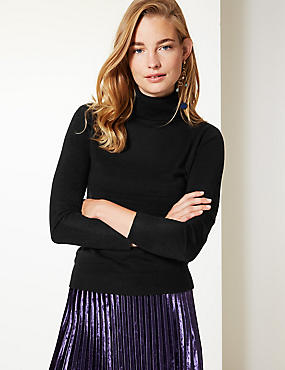 Cashmilon™ Roll Neck Jumper, BLACK, catlanding