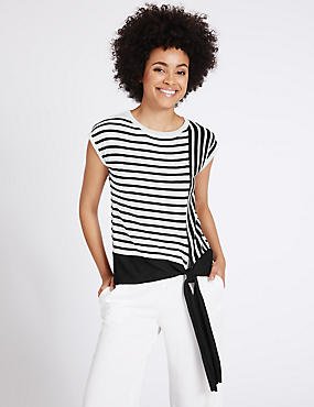 Striped Round Neck Cap Sleeve Jumper