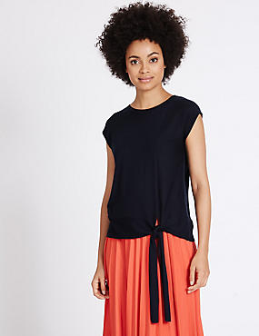 Side Tie Round Neck Cap Sleeve Jumper