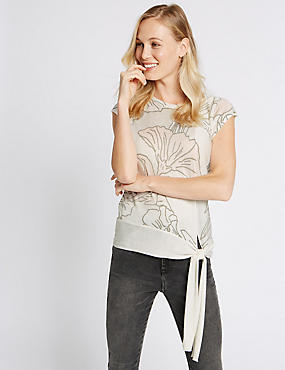 Floral Print Tie Side Cap Sleeve Jumper