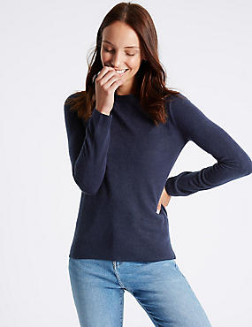 Round Neck Jumper, NAVY, catlanding
