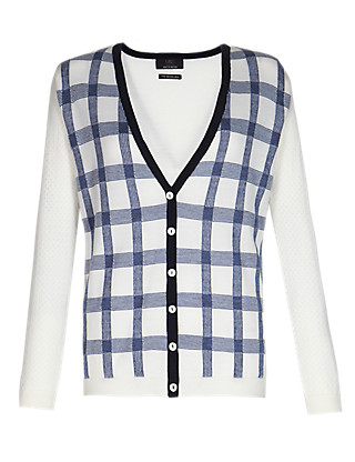 Best of British Pure Merino Wool Checked Cardigan Clothing
