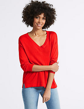 V-Neck Jumper , RED, catlanding