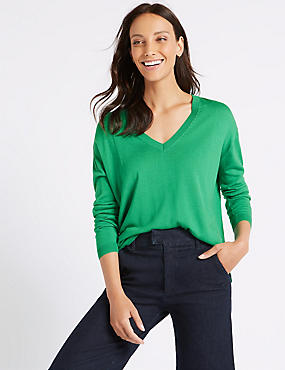 V-Neck Jumper , MEDIUM GREEN, catlanding