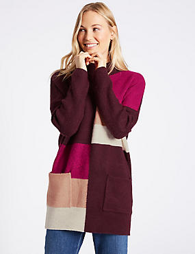 Colour Block Turtle Neck Tunic Jumper
