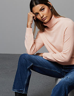Pure Cashmere Roll Neck Jumper, BLUSH, catlanding