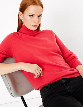 Pure Cashmere Roll Neck Jumper, CRIMSON, catlanding