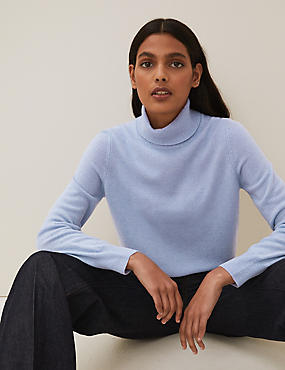 Pure Cashmere Roll Neck Jumper, BLUEBELL, catlanding