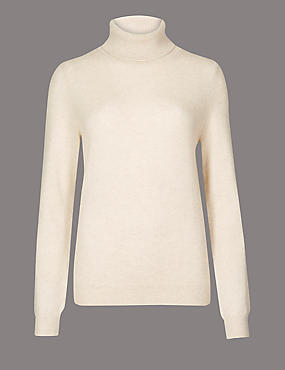 Pure Cashmere Roll Neck Jumper, OATMEAL, catlanding