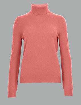 Pure Cashmere Roll Neck Jumper, TERRACOTTA, catlanding
