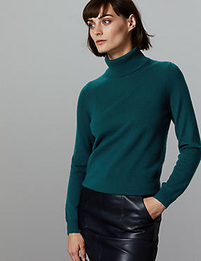 Pure Cashmere Roll Neck Jumper, DARK EVERGREEN, catlanding