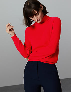 Pure Cashmere Roll Neck Jumper, CHILLI, catlanding