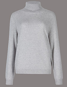 Pure Cashmere Roll Neck Jumper, GREY MARL, catlanding