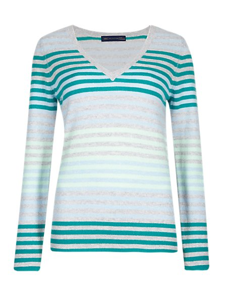 Pure Cashmere Striped V-Neck Jumper