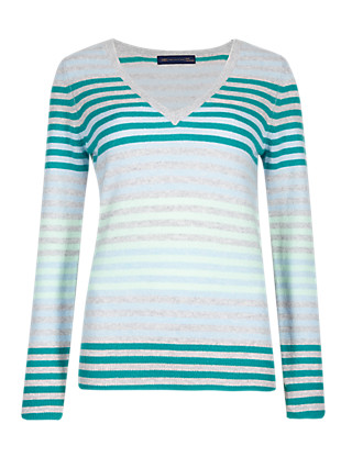 Pure Cashmere Striped V-Neck Jumper Clothing