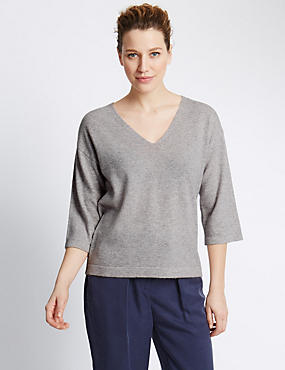Pure Cashmere V-Neck Boxy Jumper