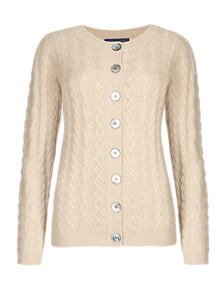 Pure Cashmere Cable Knit Cardigan Clothing