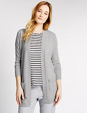 Pure Cashmere Open Front Longline Cardigan