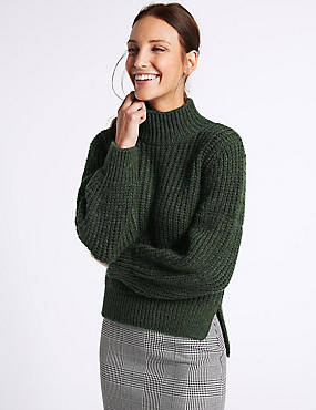 Ribbed Funnel Neck Jumper