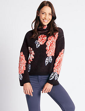 Floral Print Funnel Neck Jumper