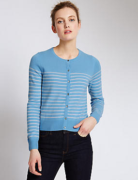 Pure Cashmere Cropped Striped Cardigan