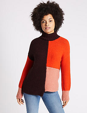 Colour Block Turtle Neck Jumper