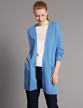 Pure Cashmere Open Front 2 Pocket Cardigan