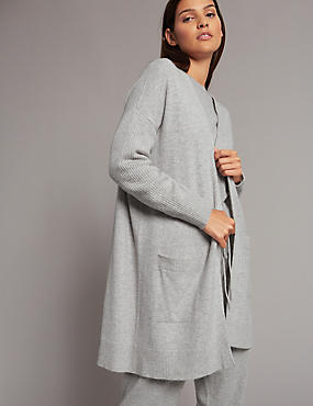 Pure Cashmere Longline Twin Pocket Cardigan