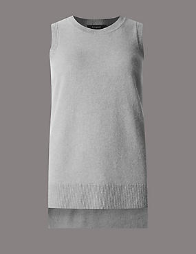 Pure Cashmere Split Knitted Tank