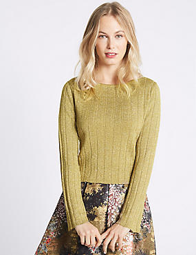 Textured Gold Glitter Round Neck Jumper